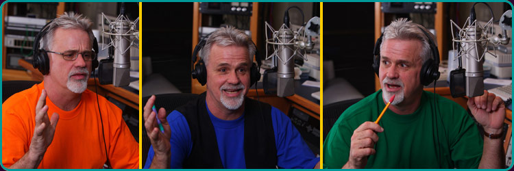 Three image of Marty Morgran recording Voice Overs in solid color shirts: Orange, Blue, and Green
