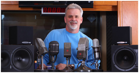 Marty Morgan with his Microphones at his Nashville Voice Over Studio